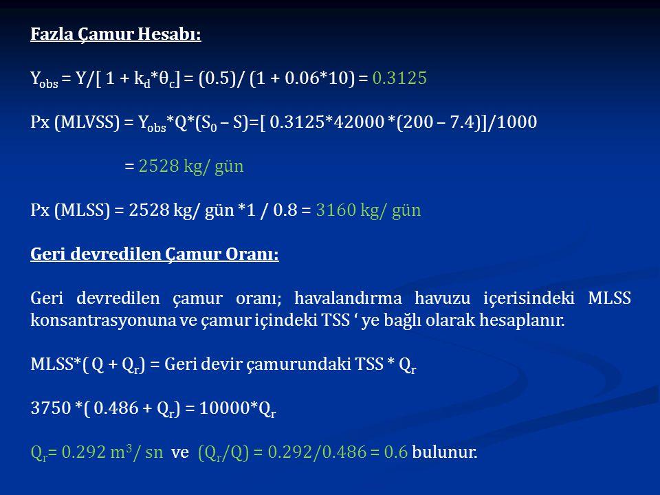 Fazla Çamur Hesabı: Yobs = Y/[ 1 + kd*θc] = (0.5)/ (1 + 0.06*10) = 0.3125. Px (MLVSS) = Yobs*Q*(S0 – S)=[ 0.3125*42000 *(200 – 7.4)]/1000.